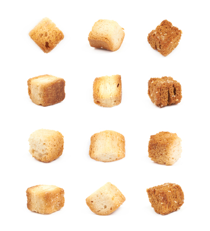 crouton: Single white bread garlic crouton isolated over the white background, set of twelve different foreshortenings