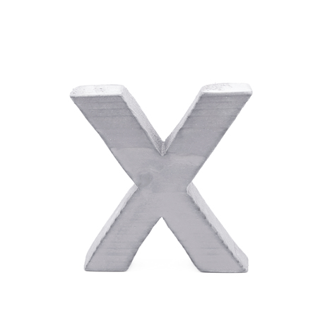 normal school: Single sawn wooden letter X symbol coated with paint isolated over the white background