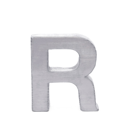 normal school: Single sawn wooden letter R symbol coated with paint isolated over the white background
