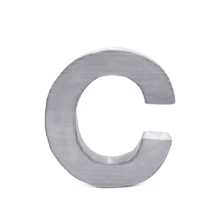 sawn: Single sawn wooden letter C symbol coated with paint isolated over the white background
