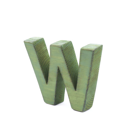 sawn: Single sawn wooden letter W symbol coated with paint isolated over the white background