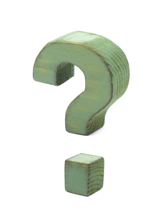 normal school: Question mark symbol sawn of wood and paint coated, isolated over the white background Stock Photo