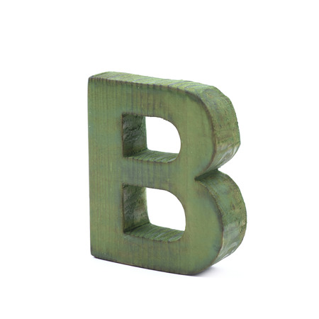 sawn: Single sawn wooden letter B symbol coated with paint isolated over the white background Stock Photo