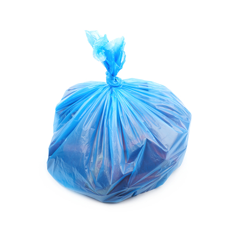Filled blue plastic garbage bag isolated over the white background Stock Photo