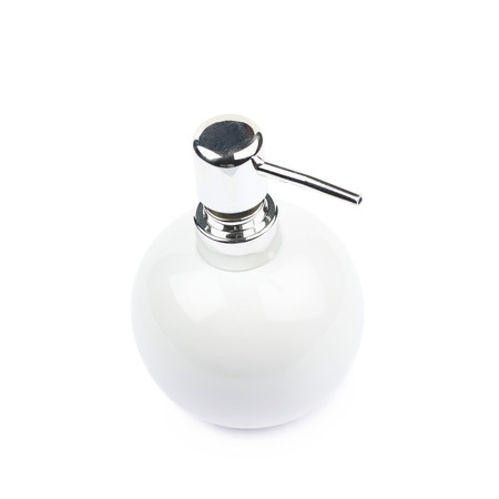 antibacterial soap: White ceramic liquid soap dispenser isolated over the white background