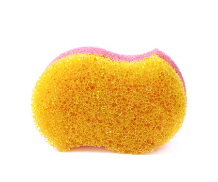 bath sponge: Red and yellow colored bath sponge isolated over the white background