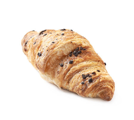 Chocolate croissant pastry isolated over the white background Stock Photo