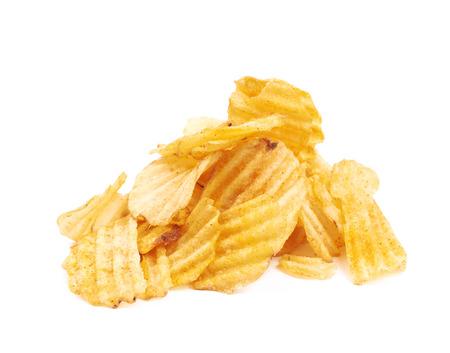 Pile of seasoned potato chip crisps isolated over the white background Stock Photo