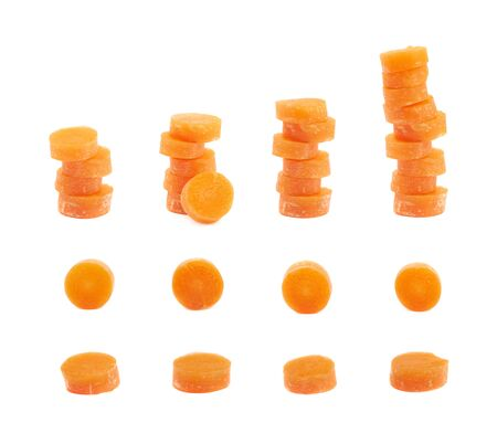 multiple images: Set of multiple sliced baby carrots images, isolated over the white background