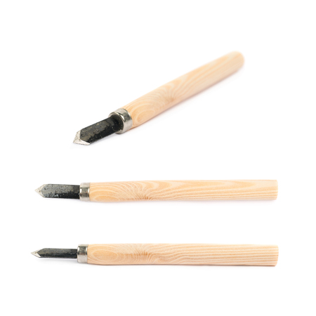 hand tool: Hand carving wood chisel tools isolated over the white background, set of three different foreshortenings