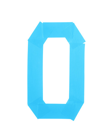 Number zero symbol made of insulating tape isolated over the white background Stock Photo