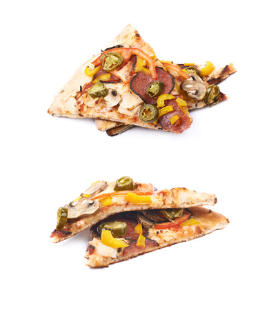 Two slices of a mexican pizza isolated over the white background, set of two different foreshortenings