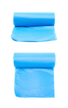 Blue plastic polyethylene trash bag roll isolated over the white background, set of two different foreshortenings Stock Photo