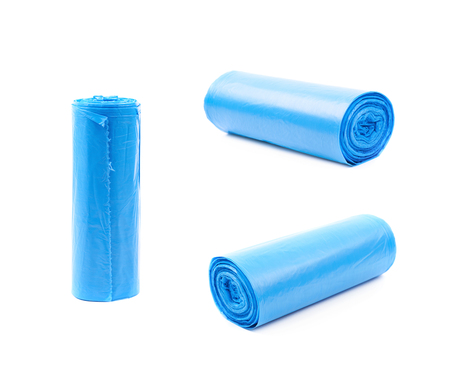 Blue plastic polyethylene trash bag roll isolated over the white background, set of three different foreshortenings