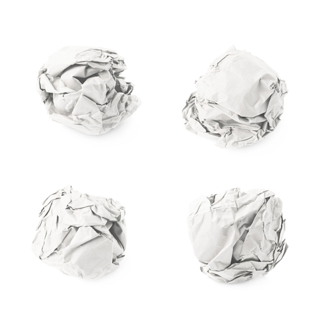crumbled: Crumbled paper ball isolated over the white background