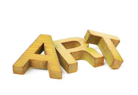 Word Art made of colored with paint wooden letters, composition isolated over the white background