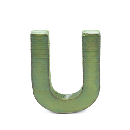 sawn: Single sawn wooden letter U symbol coated with paint isolated over the white background Stock Photo