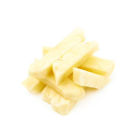 Pile of pineapple flesh bits isolated over the white background Stock Photo