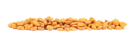 processed grains: Pile of breaded peanuts isolated over the white background Stock Photo