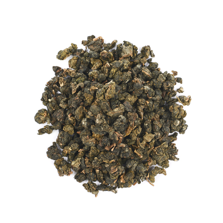 pile of leaves: Pile of dried tea leaves isolated over the white background Stock Photo