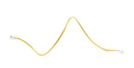 ethernet cable: Yellow ethernet cable isolated over the white background