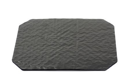 octogonal: octogonal hoja de papel cartón encerado negro aislado sobre el fondo blanco