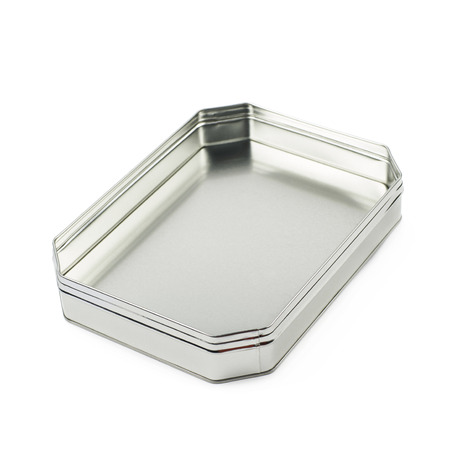 octagonal: Octagonal box made of brushed metal sheet, isolated over the white background