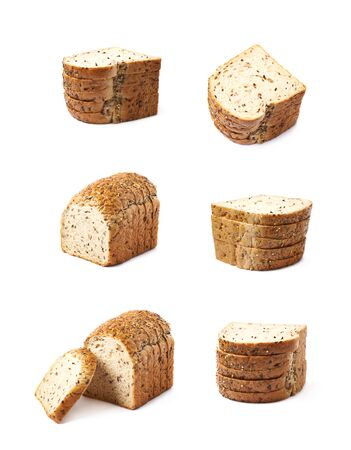 Pile of the white breads slices isolated over the white background, set of six different foreshortenings Stock Photo