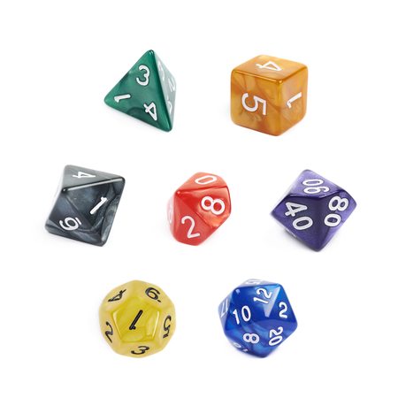 roleplaying: Set of multiple colorful roleplaying polyhedral dices isolated over the white background