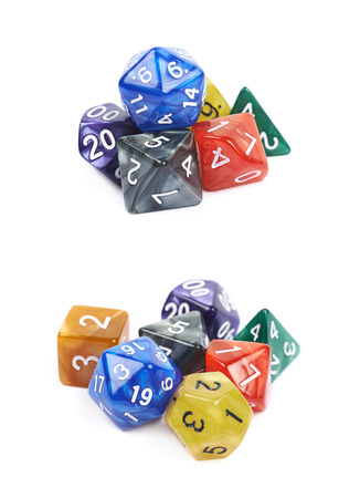 roleplaying: Pile of colorful roleplaying polyhedral dices isolated over the white background, set of two different foreshortenings
