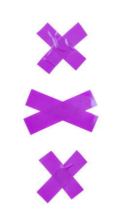 Cross made of two pieces of insulating tape isolated over the white background, set of three different foreshortenings Stock Photo