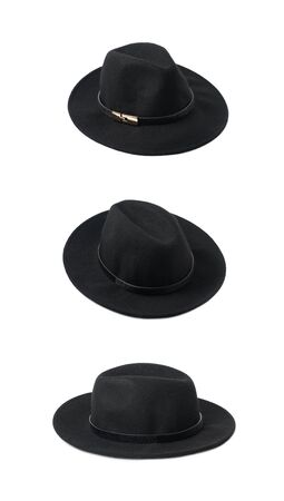 black hat: Black homburg hat isolated over the white background, set of three different foreshortenings