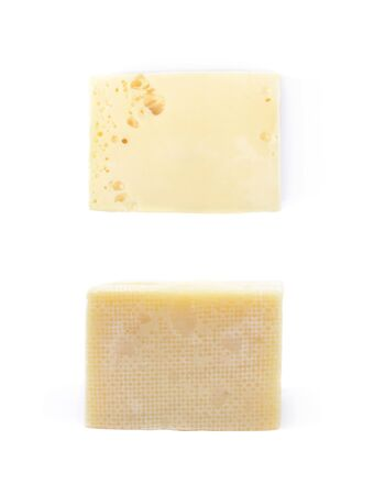 cheez: Piece of cheese isolated over the white background, set of two different foreshortenings
