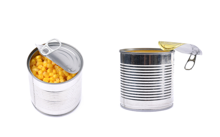 Canned corn in a tincan isolated over the white background, set of two different foreshortenings Stock Photo