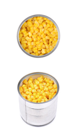 tinned goods: Canned corn in a tincan isolated over the white background, set of two different foreshortenings Stock Photo
