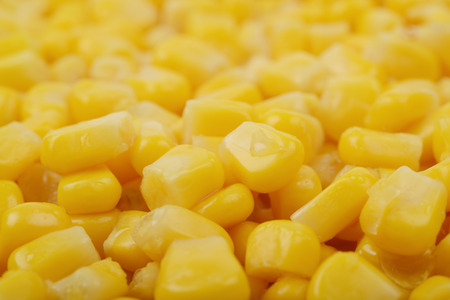 Surface coated with the canned corn as a cooking backdrop, shallow depth of field composition