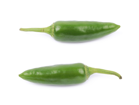 capsaicin: Green jalapeno pepper isolated over the white background, set of two different foreshortenings