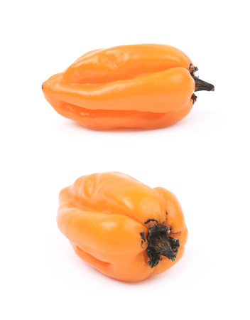 Orange habanero pepper isolated over the white background, set of two different foreshortenings Stock Photo