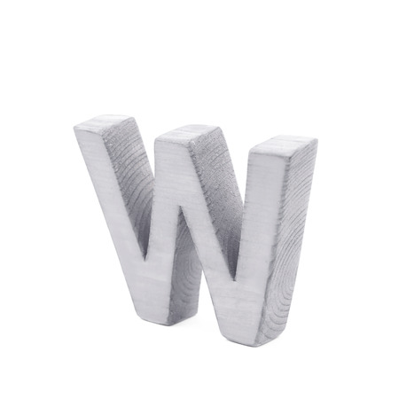normal school: Single sawn wooden letter W symbol coated with paint isolated over the white background