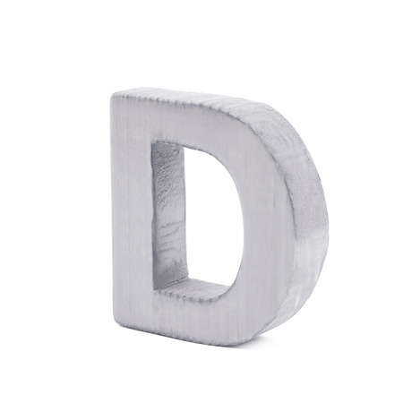 normal school: Single sawn wooden letter D symbol coated with paint isolated over the white background