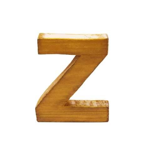 sawn: Single sawn wooden letter Z symbol coated with paint isolated over the white background Stock Photo