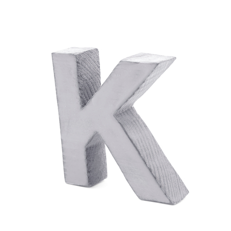 sawn: Single sawn wooden letter K symbol coated with paint isolated over the white background