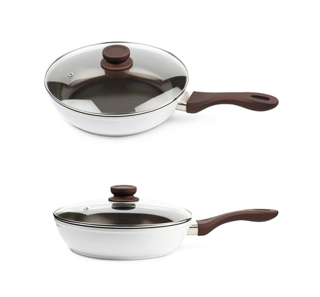 utensilios de cocina: Brand new brown frying pan   and a glass lid over it, composition isolated over the white background, set of two different foreshortenings