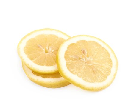 lemon slices: Pile of lemon slices isolated over the white background Stock Photo