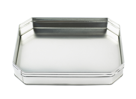 octogonal: Octagonal box made of brushed metal sheet, isolated over the white background