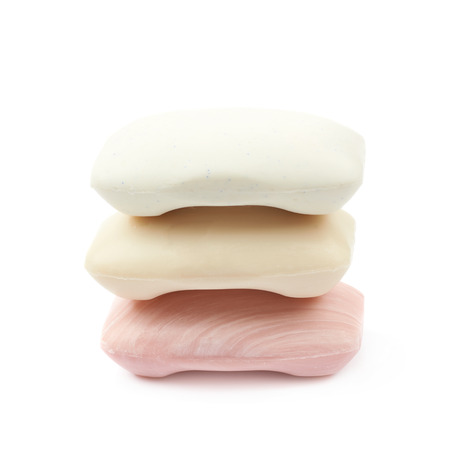 antibacterial soap: Three pieces of soap isolated over the white background