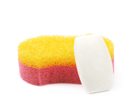bath sponge: Red and yellow bath sponge with soap next to it, composition isolated over the white background