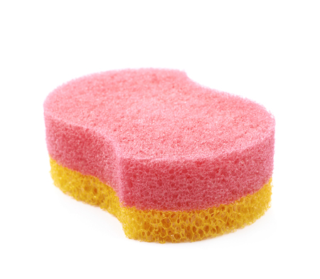 bath sponge: Red and yellow bath sponge isolated over the white background