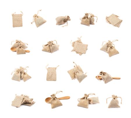 sackcloth: Tiny sackcloth bag isolated