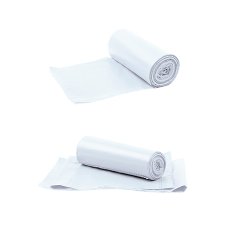 degradable: Trash bag roll isolated Stock Photo
